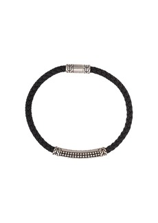 John Hardy Silver Classic Chain Woven Leather Bracelet with Jawan Station