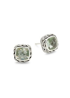 John Hardy Sterling Silver & Green Amethyst Earrings