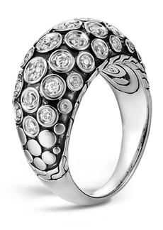 John Hardy Sterling Silver Dot Diamond Pave Dome Ring - Size 7 - 0.36 ctw