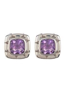 John Hardy Sterling Silver Kali Amethyst Square Stud Earrings