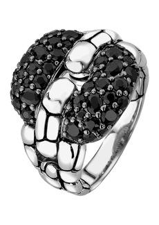 John Hardy Sterling Silver Kali Lava Black Sapphire Square Ring - Size 7