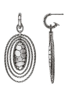 John Hardy Sterling Silver Kali Zen Oval Hoop Drop Earrings