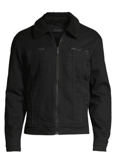 John Varvatos Faux Fur Collar Zip Trucker Jacket