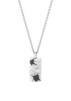 John Varvatos Artisan Metals JV Sterling Silver & Black Diamond ID Tag Pendant Necklace