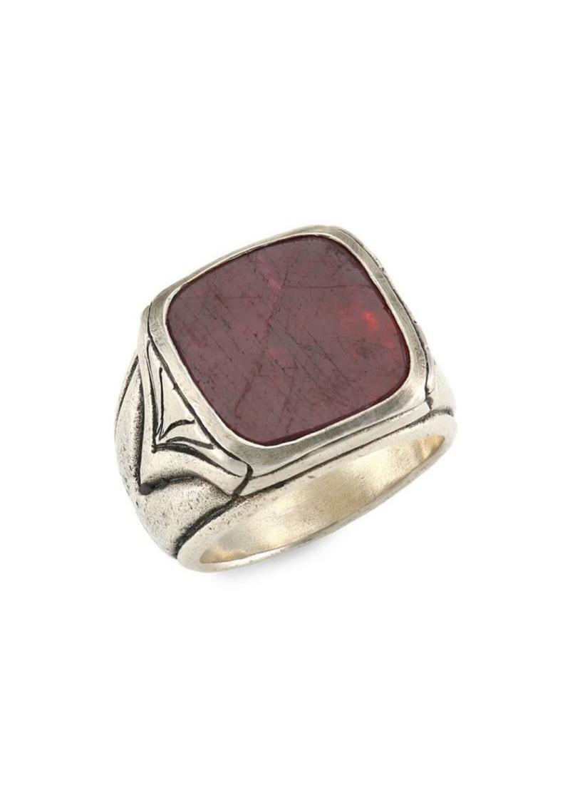 John Varvatos Artisan Metals Silver Square Ruby Ring