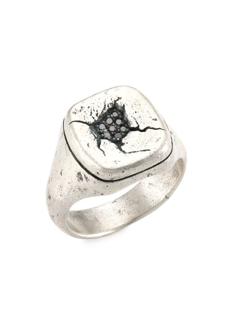 John Varvatos Artisan Metals Sterling Silver & Black Diamond Cocktail Ring