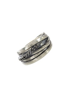John Varvatos Artisan Metals Sterling Silver & Black Diamond Crisscross Ring
