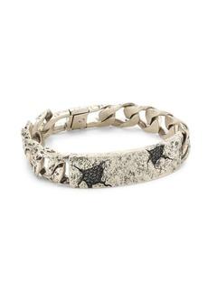 John Varvatos Artisan Metals Sterling Silver & Black Diamond ID Tag Chain Bracelet