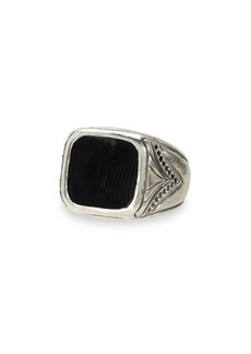 John Varvatos Artisan Metals Sterling Silver & Black Diamond Square Onyx Ring