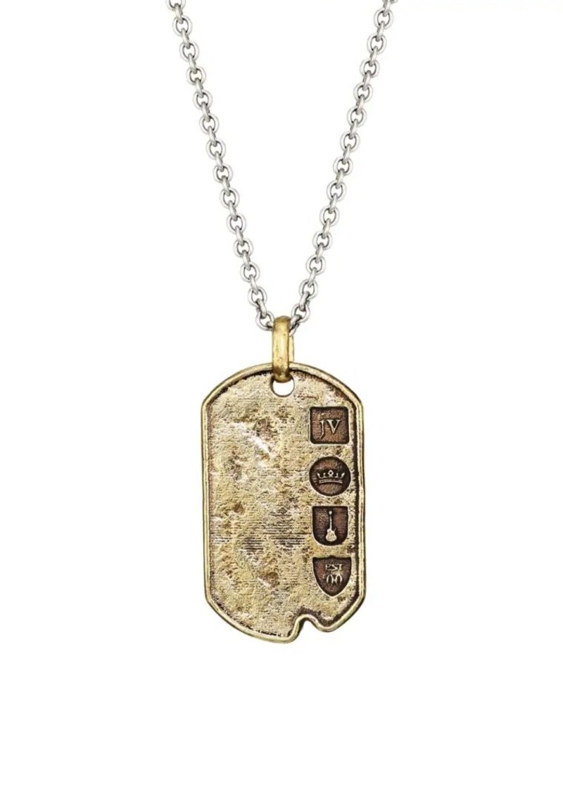 John Varvatos Artisan Metals Sterling Silver & Brass Pendant Necklace