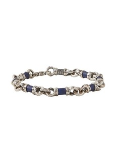 John Varvatos Artisan Metals Sterling Silver & Lapis Link Bracelet