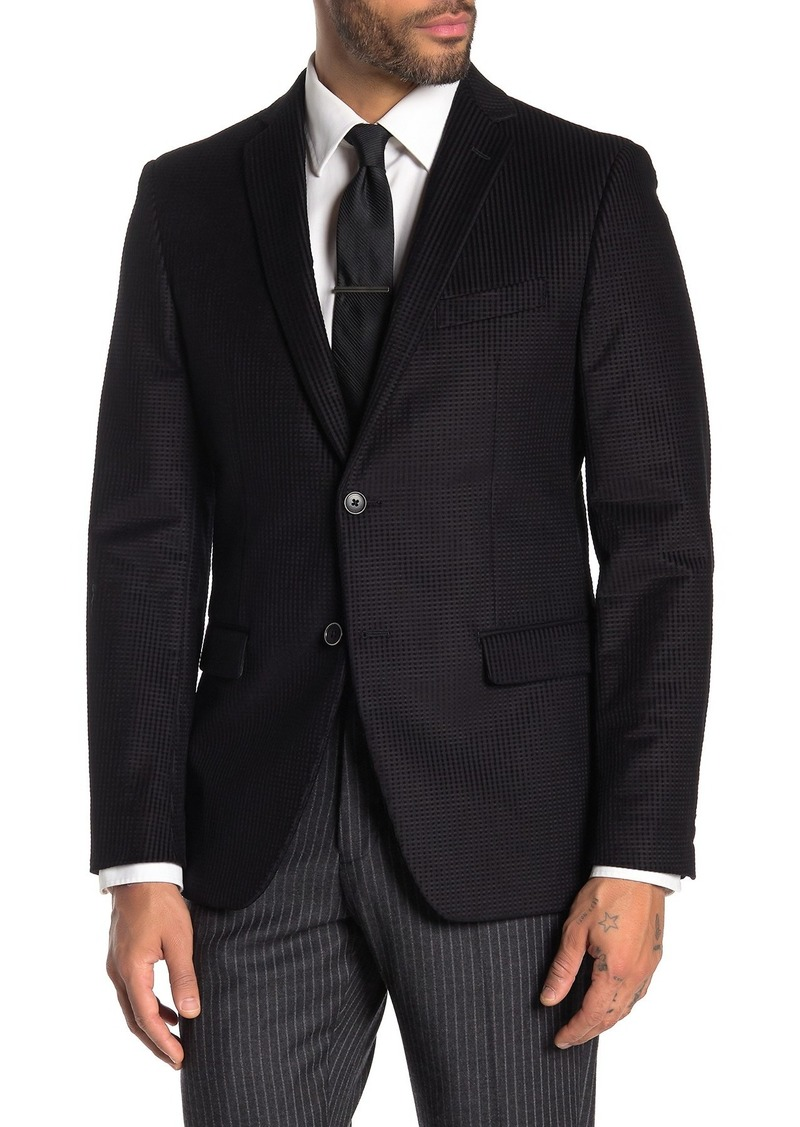 John Varvatos Bedford Black Check Two Button Notch Lapel Sport Coat