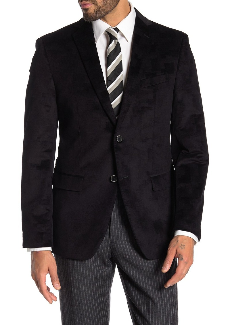 John Varvatos Bedford Black Pattern Two Button Notch Lapel Sport Coat