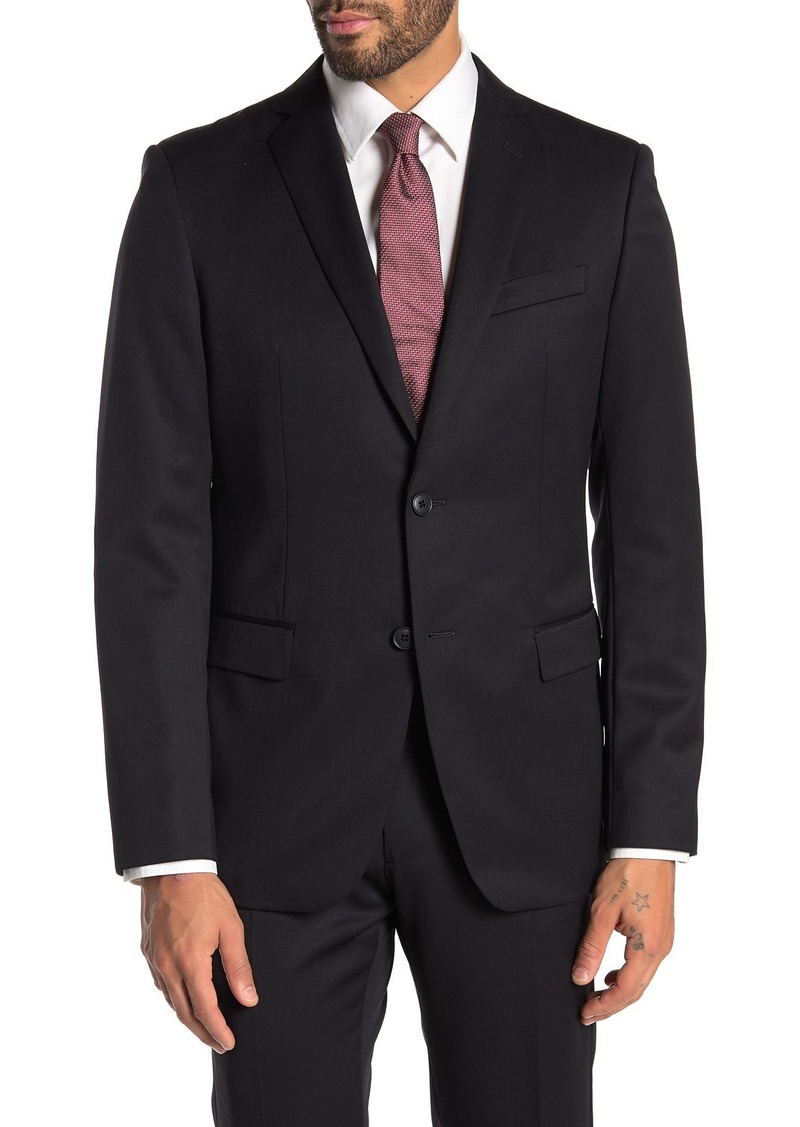 John Varvatos Bedford Black Solid Two Button Notch Lapel Wool Suit Separates Jacket