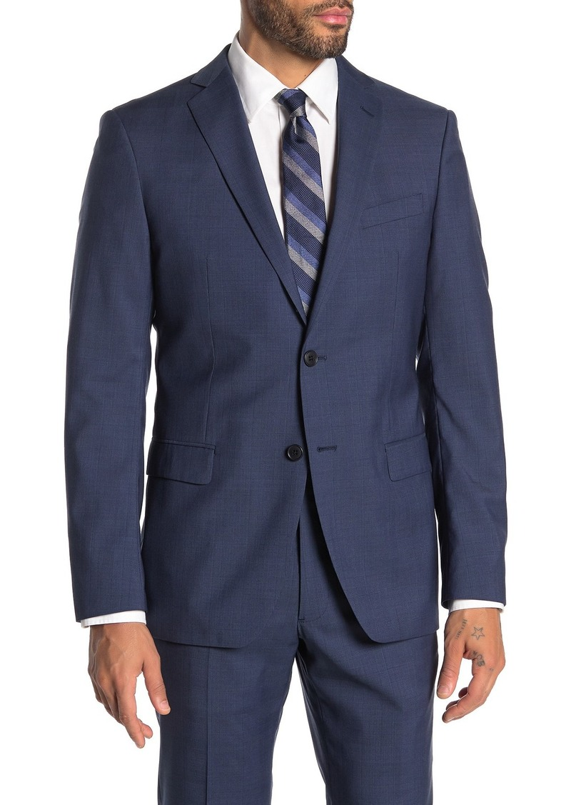 John Varvatos Bedford Blue Plaid Two Button Notch Lapel Wool Suit Separates Jacket