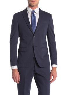 John Varvatos Bedford Blue Sharkskin Two Button Notch Lapel Suit Separates Jacket