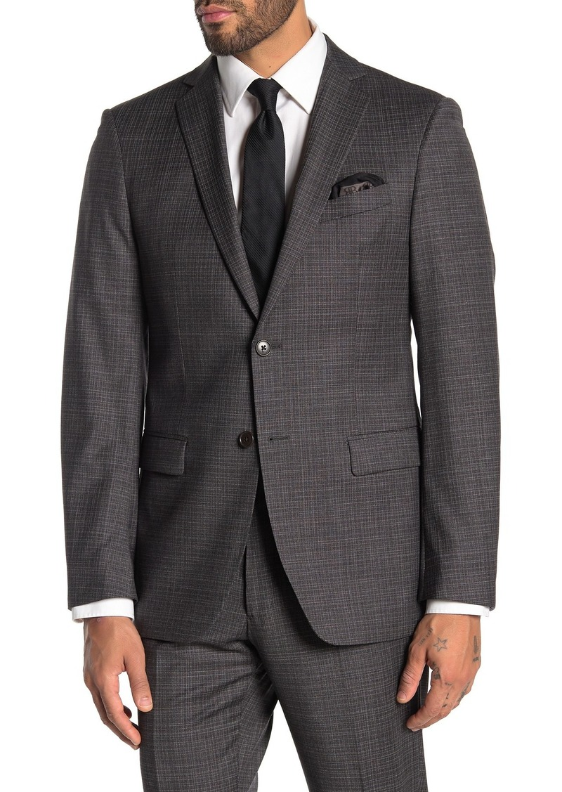 John Varvatos Bedford Charcoal Grid Two Button Notch Lapel Suit Separates Jacket