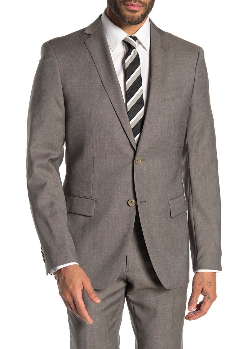 John Varvatos Bedford Dark Beige Birdseye Two Button Notch Lapel Wool Suit Separates Jacket