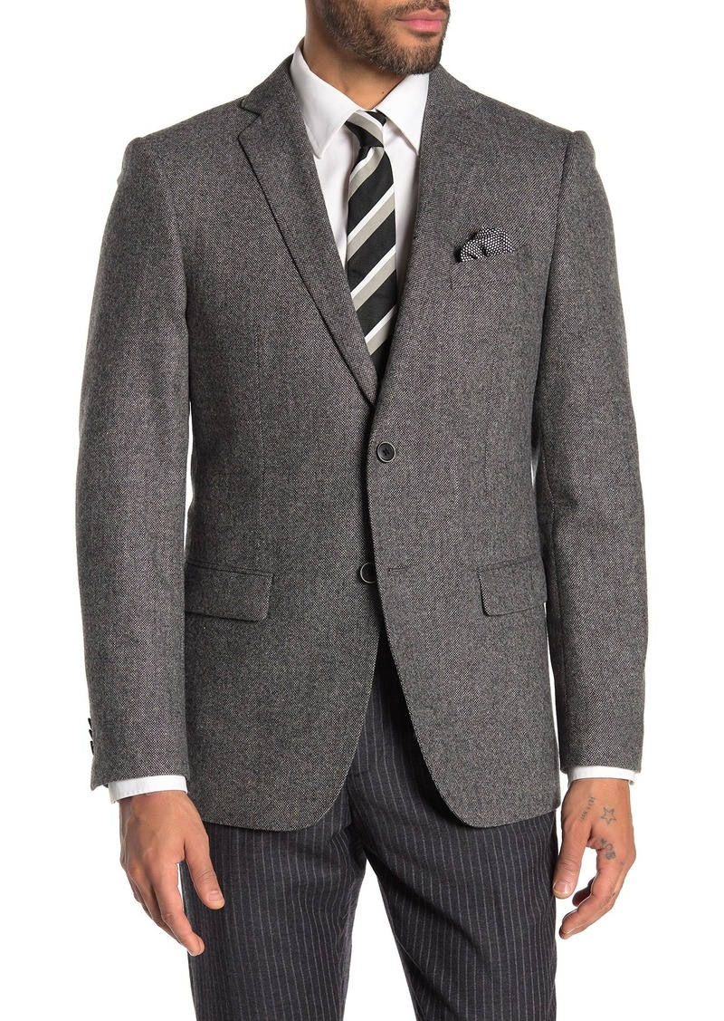 John Varvatos Bedford Grey Twill Two Button Notch Lapel Sport Coat
