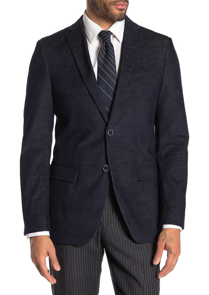 John Varvatos Bedford Navy Birdseye Two Button Notch Lapel Sport Coat