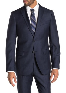 John Varvatos Bedford Navy Grid Two Button Notch Lapel Wool Suit Separates Jacket