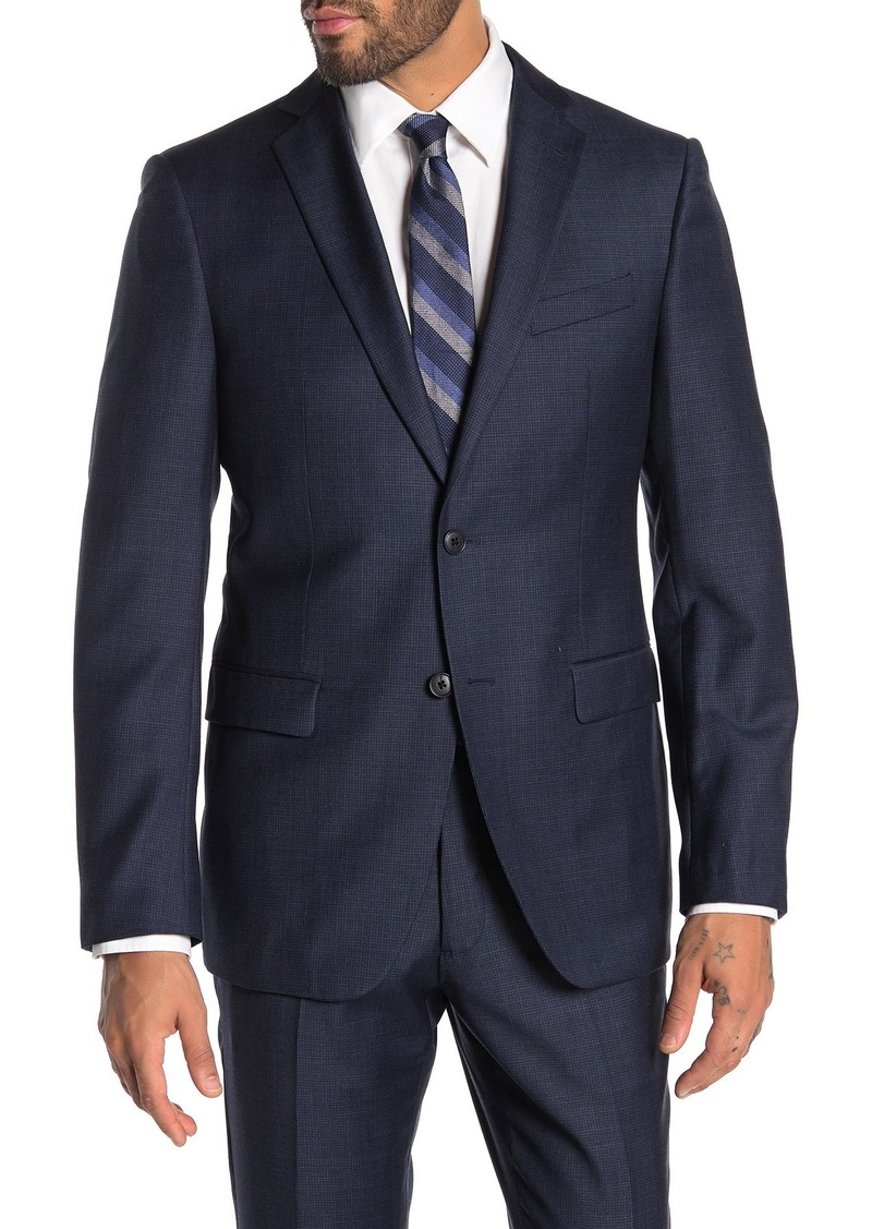 John Varvatos Bedford Navy Grid Two Button Notch Lapel Wool Suit Separates Jacket