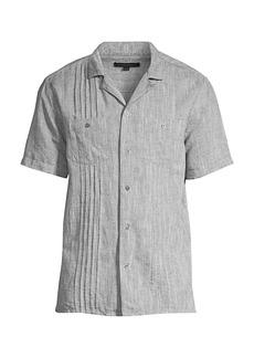 John Varvatos Benny E Guayabera Pleated Shirt