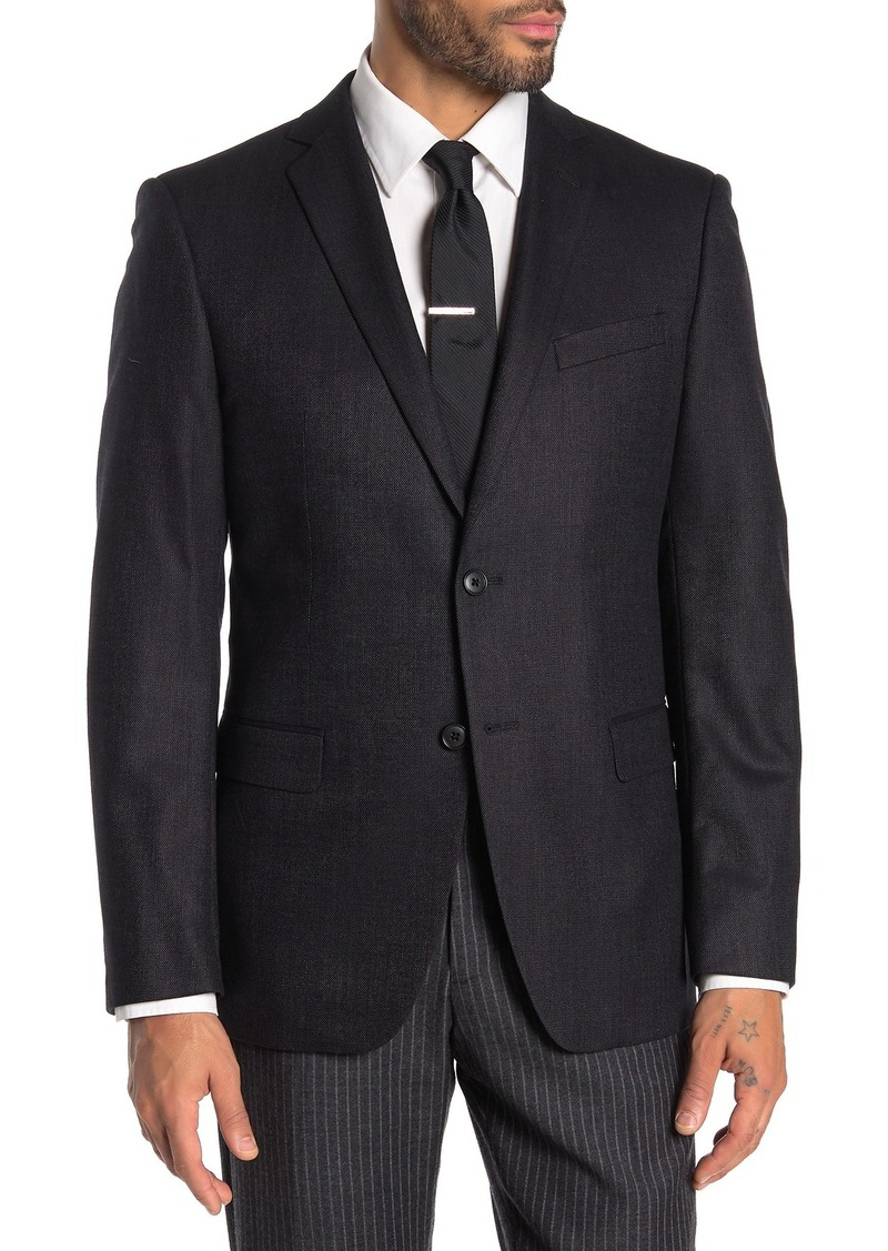 John Varvatos Black Birdseye Two Button Notch Lapel Sport Coat