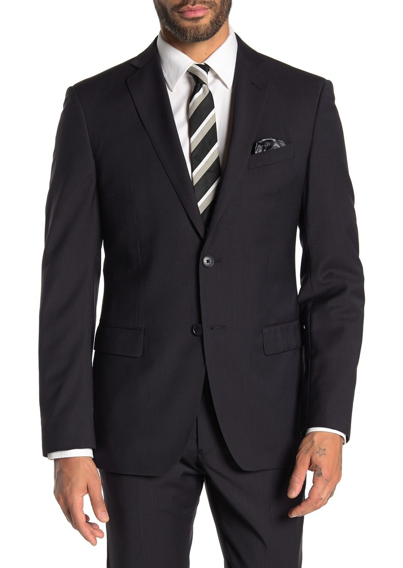 John Varvatos Black Solid Two Button Notch Lapel Suit Separates Jacket