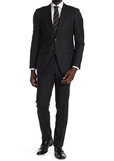 John Varvatos Black/White Micro Print Two Button Notch Lapel Wool Tailored Fit Suit