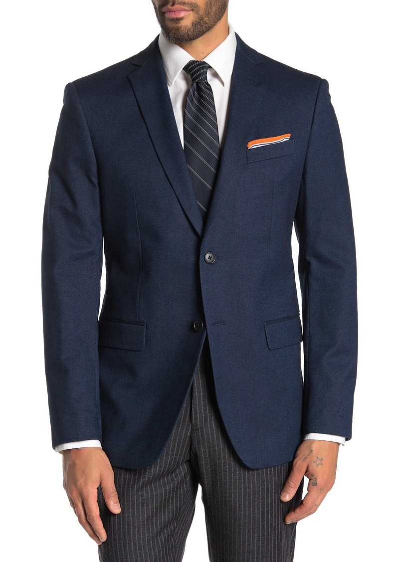 John Varvatos Blue Birdseye Two Button Notch Lapel Sport Coat
