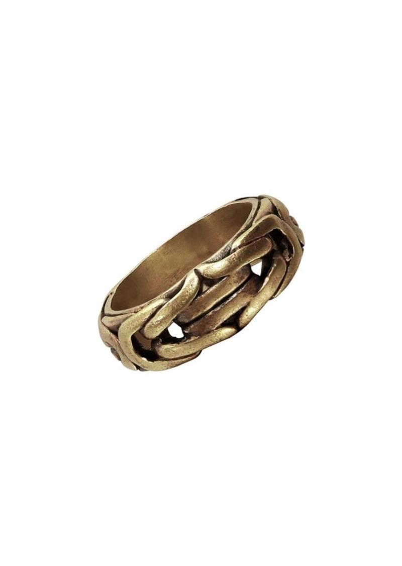 John Varvatos Braid Brass Ring