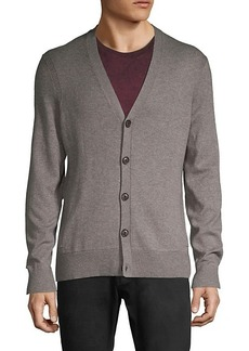 John Varvatos Button-Front Cotton & Wool-Blend Cardigan