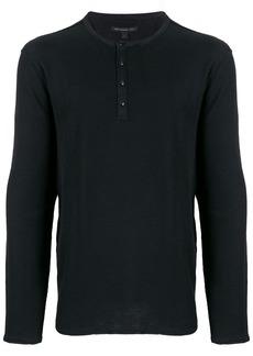 John Varvatos buttoned crew neck sweatshirt