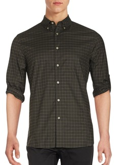 John Varvatos Checked Cotton-Blend Shirt