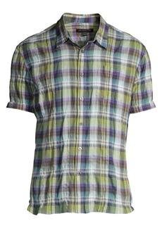 John Varvatos Clyde Short-Sleeve Plaid Sport Shirt