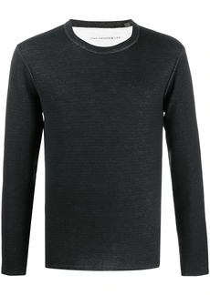 John Varvatos crew neck distressed hem sweater