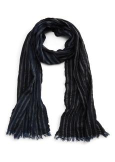 John Varvatos Crinkle Stripe Merino Wool Scarf
