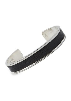 John Varvatos Exotic Silver & Leathers Cuff Bracelet