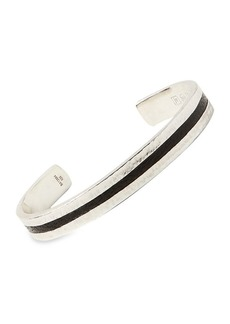 John Varvatos Exotic Silver & Leathers Hammered Cuff Bracelet