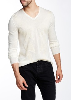 John Varvatos Patterned V-Neck Sweater