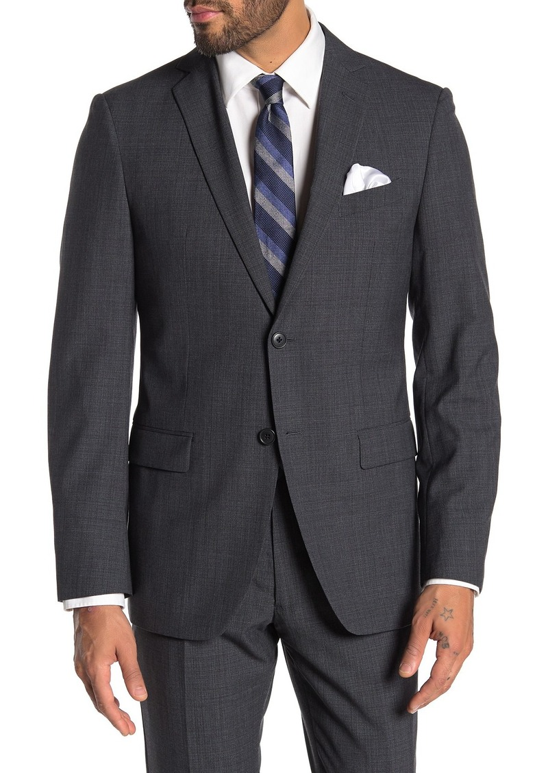John Varvatos Grey Birdseye Two Button Notch Lapel Wool Suit Separates Jacket