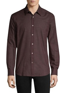 John Varvatos Grid Wool-Blend Button-Down Shirt