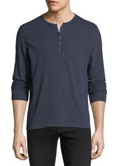 John Varvatos Heathered-Knit Henley Shirt