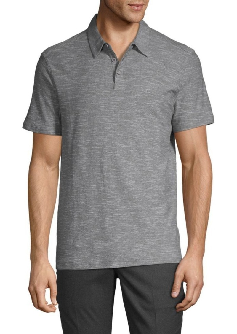 John Varvatos Heathered Short-Sleeve Cotton Polo