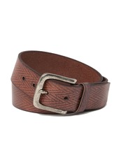 John Varvatos Herringbone Textured Leather Belt