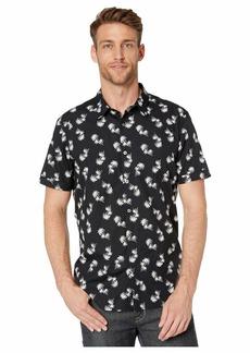 John Varvatos Jasper Palm Toss Print Short Sleeve Sport Shirt