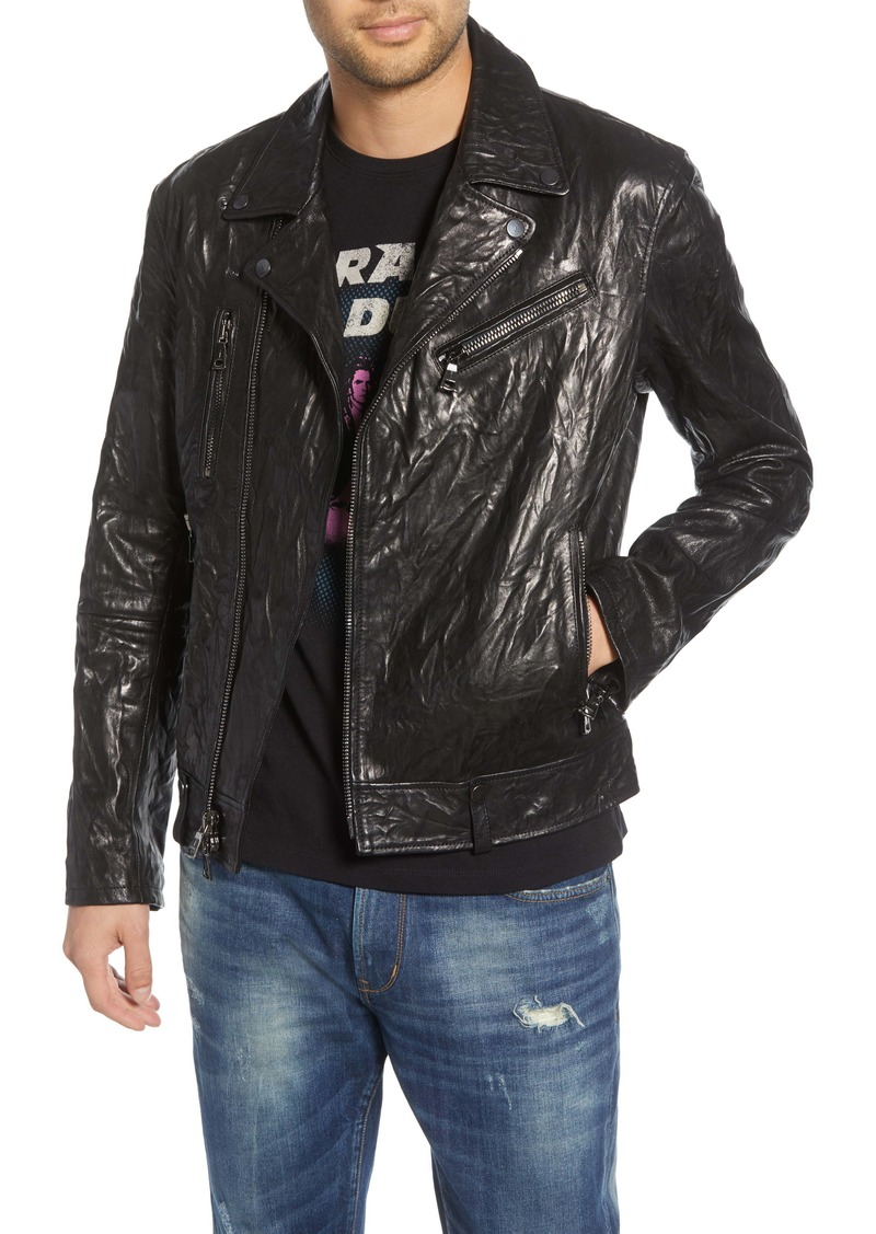 John Varvatos Regular Fit Lambskin Leather Biker Jacket