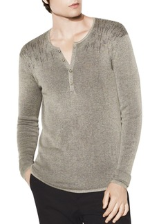 John Varvatos Collection Bi-Color Brioche Ribbed Henley
