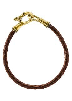 John Varvatos Collection Braided Brown Leather Brass Bracelet